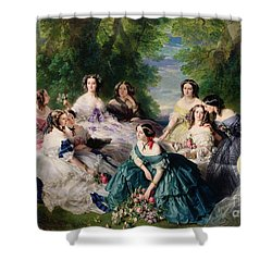 Empress Eugenie Surrounded By Her Ladies In Waiting Shower Curtain by Franz Xaver Winterhalter