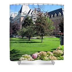 Empress Hotel Shower Curtain by Betty Buller Whitehead