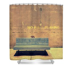 Empty Bench And Warning Shower Curtain by Gary Slawsky