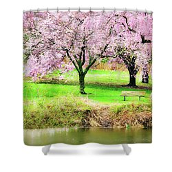Shower Curtain featuring the photograph Empty Bench Surrounded By Spring Colors by Gary Slawsky