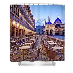 Shower Curtain featuring the photograph Empty Cafe On Piazza San Marco - Venice by Barry O Carroll