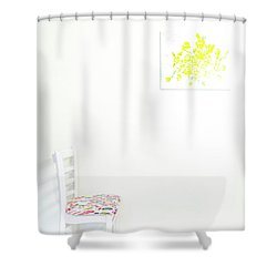 Empty Chair With Yellow Roses Shower Curtain
