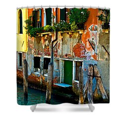 Empty Dock Shower Curtain by Harry Spitz