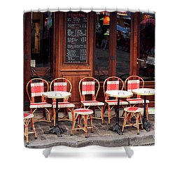 Empty Montmartre Cafe Shower Curtain by John Rizzuto