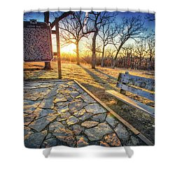 Shower Curtain featuring the photograph Empty Park Bench - Sunset At Lapham Peak by Jennifer Rondinelli Reilly - Fine Art Photography