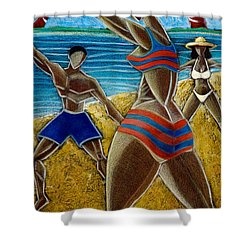 Shower Curtain featuring the painting En Luquillo Se Goza by Oscar Ortiz