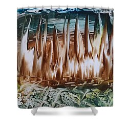 Encaustic Abstract Brown Blue-green Shower Curtain