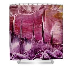 Encaustic Purple-pink Abstract Castles Shower Curtain