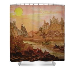 Shower Curtain featuring the painting Enchanted Desert by Ellen Levinson