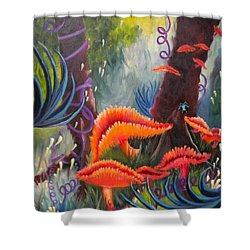 Shower Curtain featuring the painting Enchanted Forest by Renate Nadi Wesley