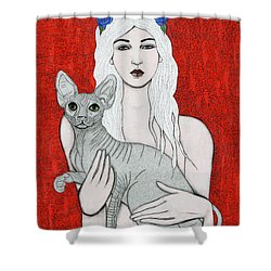 Shower Curtain featuring the mixed media Enchanted by Natalie Briney