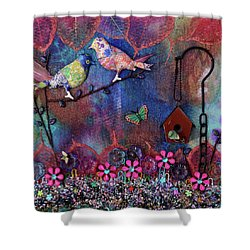 Enchanted Patchwork Shower Curtain by Donna Blackhall
