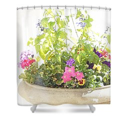 Shower Curtain featuring the digital art Enchanting Summertime Blossoms by Ann Johndro-Collins