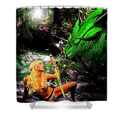 Encounter With A Dragon Shower Curtain