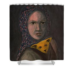 Shower Curtain featuring the painting Encountering I Am by Tone Aanderaa