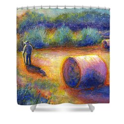 Shower Curtain featuring the painting End Of A Well Spent Day by Retta Stephenson