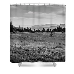 Shower Curtain featuring the photograph End Of Day In B W by Frank Wilson