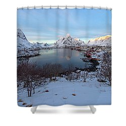 Shower Curtain featuring the photograph End Of Day, Reine, Lofoten,  by Dubi Roman