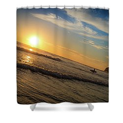 Shower Curtain featuring the photograph End Of Summer Sunset Surf by T Brian Jones