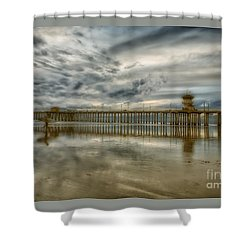 End Of Sunset Surf At Pier Shower Curtain