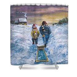 Shower Curtain featuring the painting End Of The Day by Jack Skinner