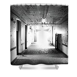 End Of The Hall Shower Curtain by Randall Cogle