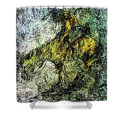 Shower Curtain featuring the painting End Of The Trail 5 by Ayasha Loya