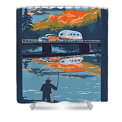 Enderby Cliffs Retro Airstream Shower Curtain