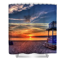 Shower Curtain featuring the photograph Endless Summer Sunrise Lifeguard Stand Tybee Island Georgia Art by Reid Callaway