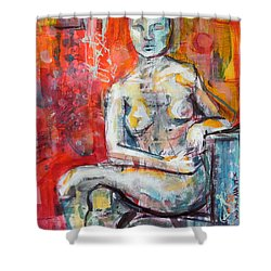 Shower Curtain featuring the painting Energy In Stillness by Mary Schiros