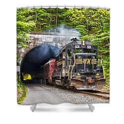 Engine 501 Coming Through The Brush Tunnel Shower Curtain by Jeannette Hunt