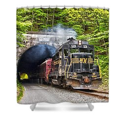 Engine 501 Coming Through The Brush Tunnel Shower Curtain