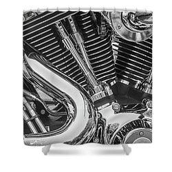 Shower Curtain featuring the photograph Engine Chrome In Black And White by Samuel M Purvis III