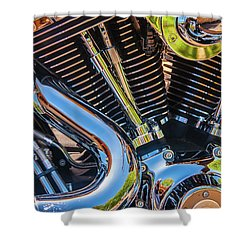 Shower Curtain featuring the photograph Engine Chrome by Samuel M Purvis III