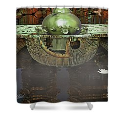 Engine Room Fractal Shower Curtain by Melissa Messick