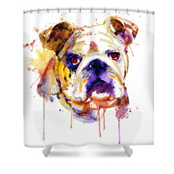 Shower Curtain featuring the mixed media English Bulldog Head by Marian Voicu
