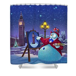 English Snowman Shower Curtain by Michael Humphries
