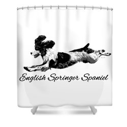 Shower Curtain featuring the digital art English Springer Spaniel by Ann Lauwers