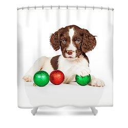 English Springer Spaniel Puppy With Christmas Baubles Shower Curtain