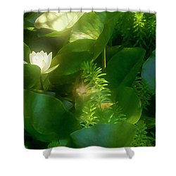 Enhanced Water Lily  Shower Curtain