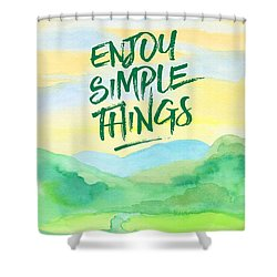Enjoy Simple Things Rice Paddies Watercolor Painting Shower Curtain by Beverly Claire Kaiya
