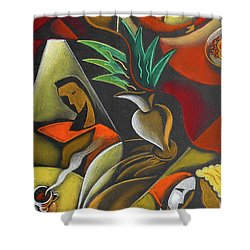 Shower Curtain featuring the painting Enjoying Food And Drink by Leon Zernitsky