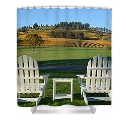 Enjoying Oregon Wine Country Shower Curtain