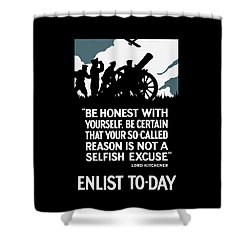 Enlist To-day - Lord Kitchener  Shower Curtain by War Is Hell Store