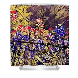 Shower Curtain featuring the photograph Ennis Bluebonnents by Diane Miller
