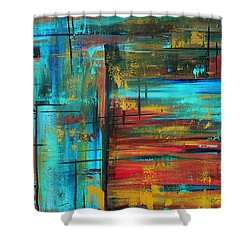 Enormous 3x5 Abstract Art Huge Original Contemporary Painting Into Autumn By Madart Shower Curtain by Megan Duncanson