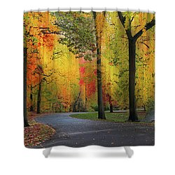 Shower Curtain featuring the photograph  Ensconced In Autumn by Jessica Jenney