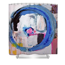 Enso, Blue Planent, Warm Heart Shower Curtain by Amara Dacer