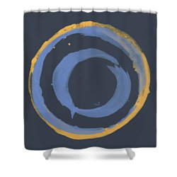 Shower Curtain featuring the painting Enso T Blue Orange by Julie Niemela
