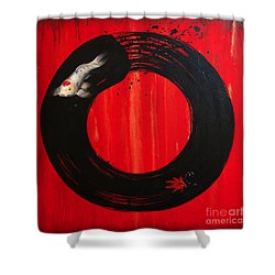 Enso With Koi Red And Gold Shower Curtain